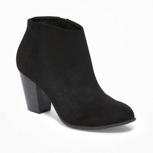 NWOT Black Suede Block Heel Booties